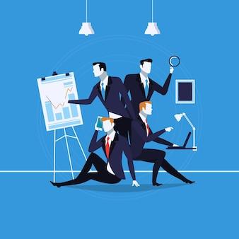 Illustrazione vettoriale di uomini d'affari al lavoro in stile piatto