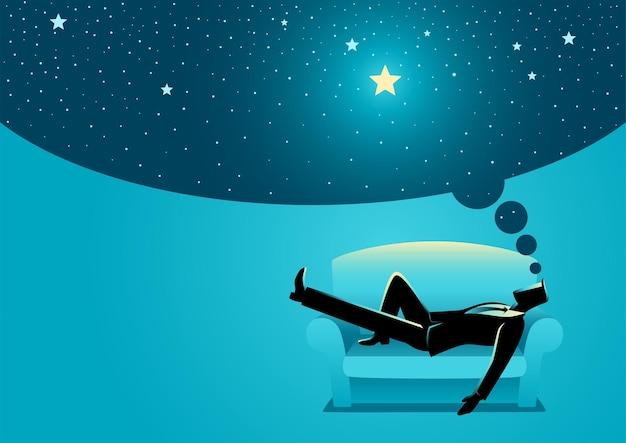 Illustrazione vettoriale di un uomo d'affari che sogna ad occhi aperti mentre dorme sul divano