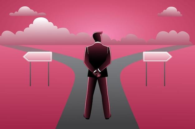 L'illustrazione vettoriale dell'uomo d'affari davanti all'incrocio e alle frecce del cartello mostra due corsi diversi