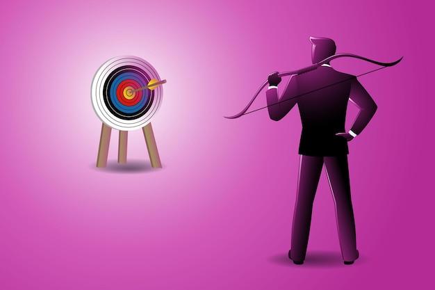 Illustrazione vettoriale di uomo d'affari che tiene arco sulla spalla con frecce bloccate nel bersaglio