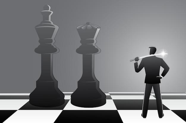 L'illustrazione vettoriale dell'uomo d'affari con una spada katana appoggiata sulla spalla si confronta con il re e la regina degli scacchi sulla scacchiera
