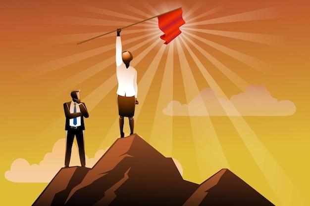 L'illustrazione vettoriale della donna d'affari tiene la bandiera in cima alla montagna mentre un uomo d'affari la guarda