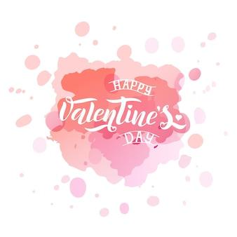 Illustrazione vettoriale di testo di san valentino per biglietto di auguri, banner modello. iscrizione di vettore nero disegnato a mano su spruzzi di acquerello sfondo rosa. manifesto di san valentino felice.