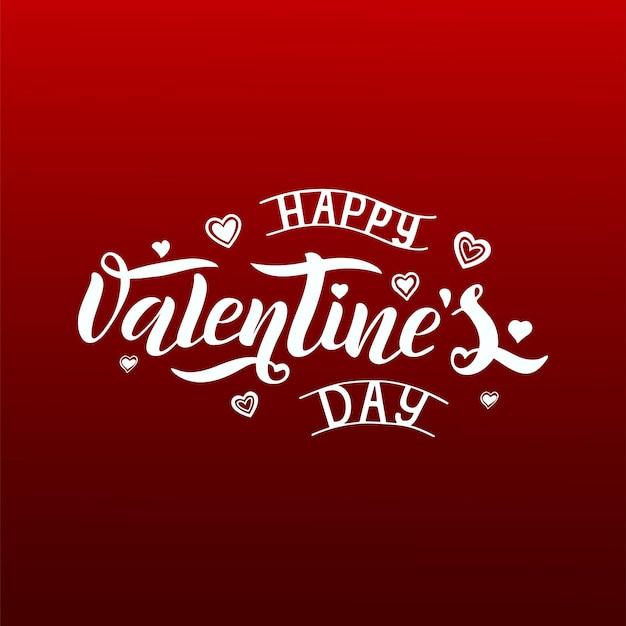 Illustrazione vettoriale di testo di san valentino per biglietto di auguri, banner modello. lettering vettoriale bianco disegnato a mano su uno sfondo rosso con una sfumatura. manifesto di san valentino felice.