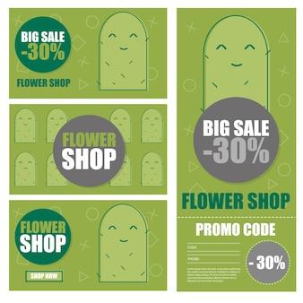Illustrazione vettoriale di coupon di sconto negozio di fiori e cactus. modello di sfondo per volantino aziendale botanico. segno della bandiera dell'offerta speciale