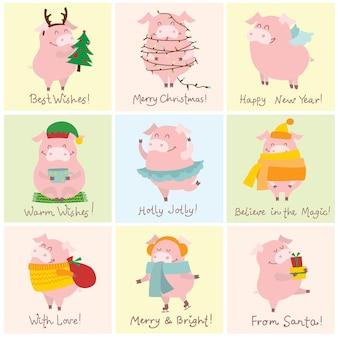 Carta di illustrazione vettoriale con il simbolo dell'anno - maiale giallo con regali di natale e auguri di natale disegnati a mano divertenti