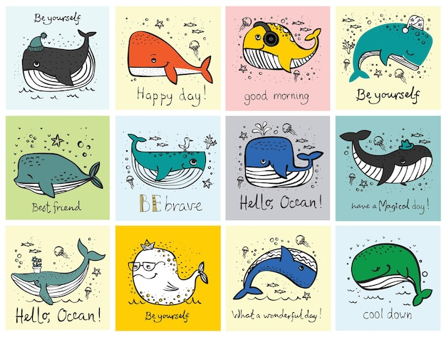 Carte di illustrazione vettoriale con simpatiche balene di abitanti dell'oceano scarabocchiate a colori e citazioni divertenti di motivazione