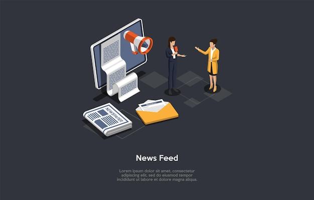 Illustrazione di vettore. stile 3d del fumetto. composizione isometrica. design concettuale. feed di notizie. due personaggi. persone che parlano. schermo di computer con carta sullo schermo, altoparlante, giornali in giro.