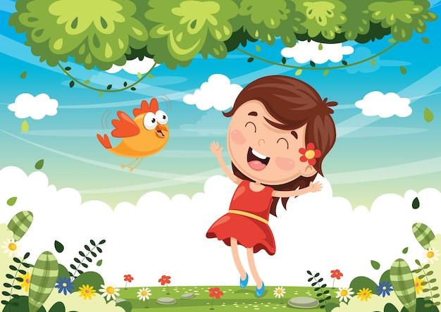 Illustrazione vettoriale di uccello dei cartoni animati