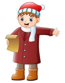 Vector l'illustrazione del ragazzo del fumetto che canta i canti natalizii di natale