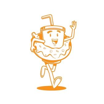 L'illustrazione vettoriale della tazza di caffè del personaggio dei cartoni animati indossava una ciambella mentre correva
