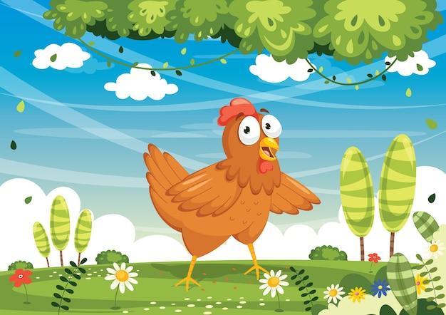 Illustrazione vettoriale di pollo dei cartoni animati Vettore Premium