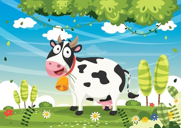 Illustrazione vettoriale della mucca del fumetto