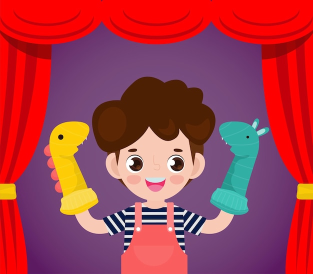 Fumetto dell'illustrazione di vettore dei bambini piccoli svegli che giocano i burattini del calzino nel teatro