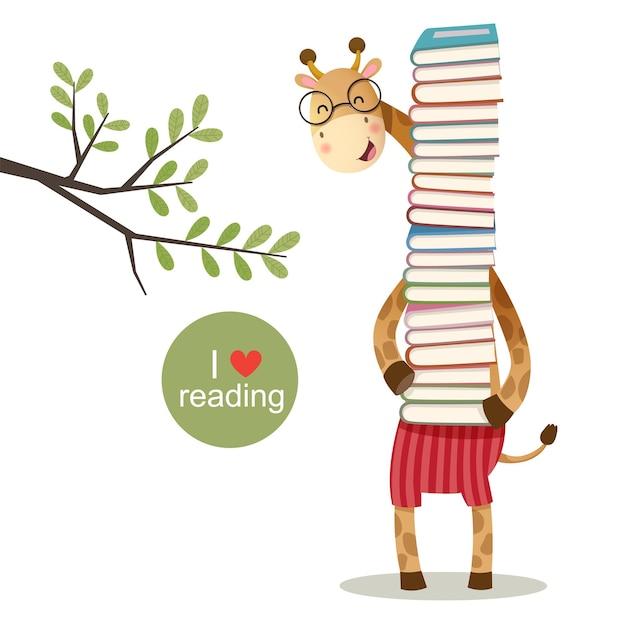 Illustrazione vettoriale di giraffa cartone animato che tiene una pila di libri