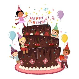 Fumetto dell'illustrazione di vettore dei bambini felici che decorano la torta di compleanno.
