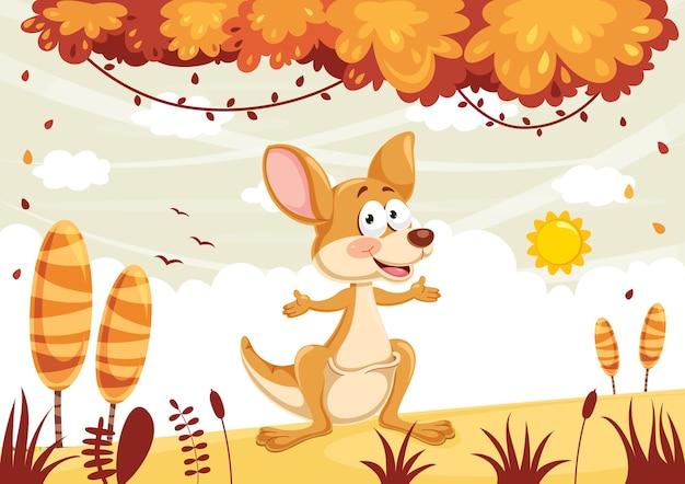 Illustrazione vettoriale di cartoon kangaroo