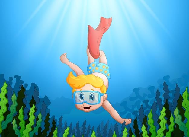Vector l'illustrazione del bambino del fumetto che si tuffa underwater