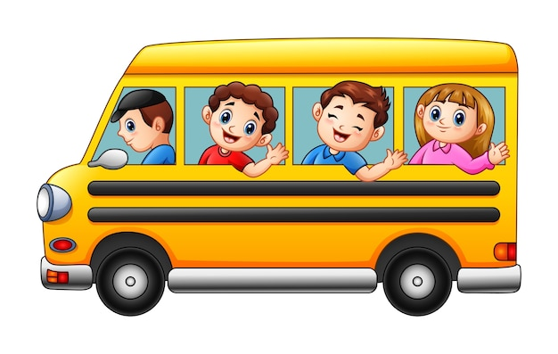 Vector l'illustrazione dei bambini del fumetto che vanno a scuola in scuolabus