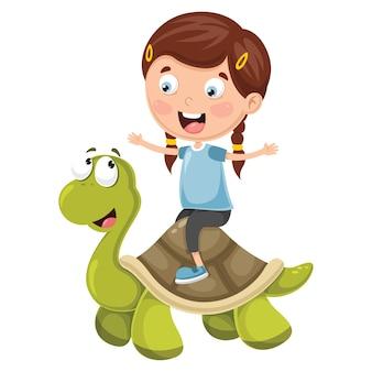 Illustrazione vettoriale di cartoon bambini con tartaruga