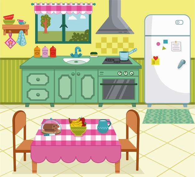 Illustrazione vettoriale di una cucina di cartone animato per uso generale