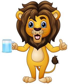 Vector l'illustrazione del leone del fumetto che tiene una bevanda