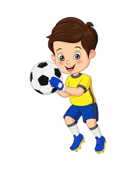 Illustrazione vettoriale del ragazzino del fumetto che tiene il pallone da calcio