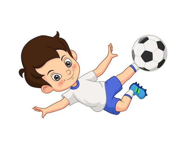Illustrazione vettoriale del ragazzino del fumetto che gioca a calcio