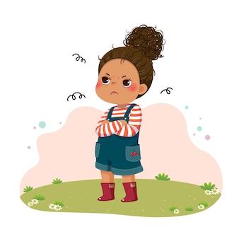 Illustrazione vettoriale di cartone animato piccola ragazza imbronciata in piedi con le braccia incrociate sul petto.