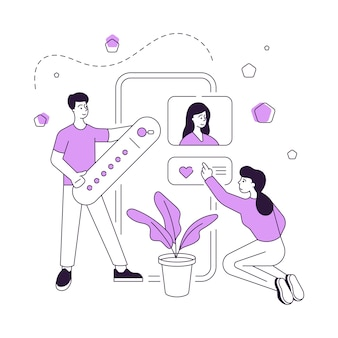 Illustrazione vettoriale di cartone animato uomo e donna alla ricerca e pagina di valutazione nei social media