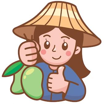 Illustrazione vettoriale di cartoon mango venditore che presenta