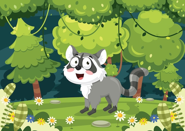 Illustrazione vettoriale di cartoon raccoon