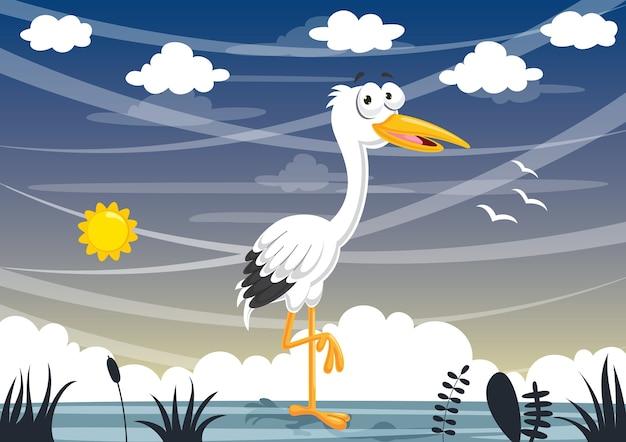 Illustrazione vettoriale della cicogna del fumetto