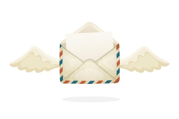 Illustrazione vettoriale in stile cartone animato busta di posta vintage aperta volante da vecchia carta con le ali