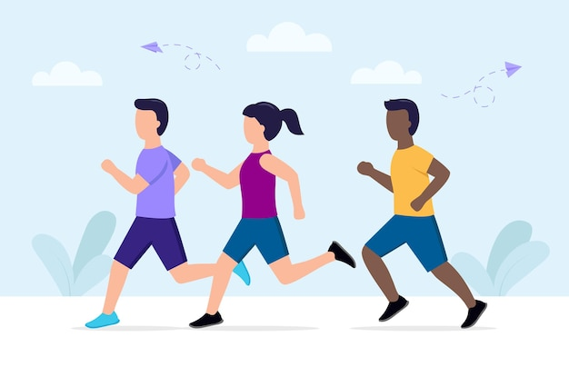 Illustrazione vettoriale di stile cartone animato jogging persone che indossano abbigliamento sportivo. marathon runners gruppo di uomini e donne in movimento in esecuzione.