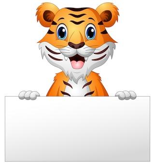 Vector l'illustrazione della tigre del fumetto con il segno in bianco