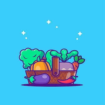 Illustrazione di vettore delle verdure del fumetto in cestino. concetto di giornata mondiale vegetariana