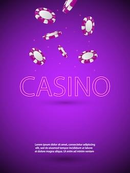 Illustrazione vettoriale su un tema di casinò con lettera di luce al neon brillante e chip colorati che cadono
