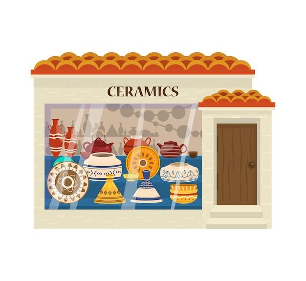 Illustrazione vettoriale di fronte negozio di ceramiche.