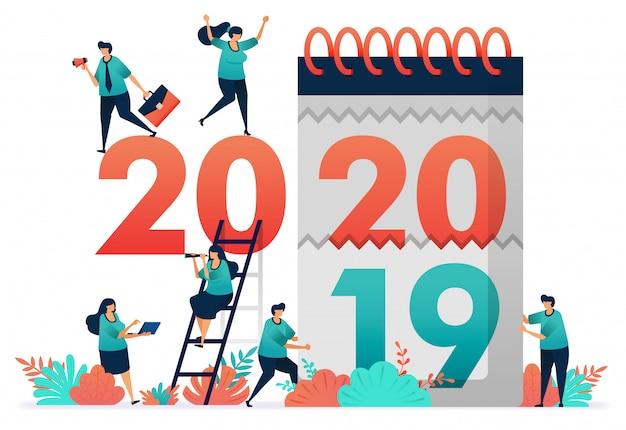 Illustrazione vettoriale di cambiamento degli anni di lavoro dal 2019 al 2020.