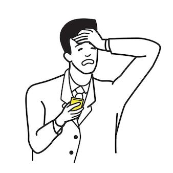 Carattere di illustrazione vettoriale dell'uomo d'affari che tiene smartphone moderno con la mano sopra la sua testa in emozione seria, depressa, stressata.