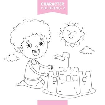 Illustrazione vettoriale di carattere da colorare