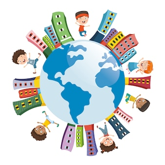 Illustrazione vettoriale di bambini che giocano intorno al mondo