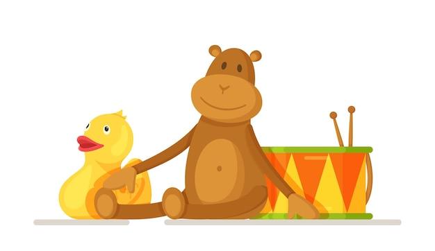 Illustrazione vettoriale di giocattoli per bambini. giocattoli per bambini isolati su sfondo bianco. il concetto di giocattoli preferiti dai bambini: un tamburo, una scimmia, un'anatra.