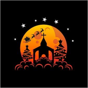 Illustrazione vettoriale di atmosfera natalizia in chiesa