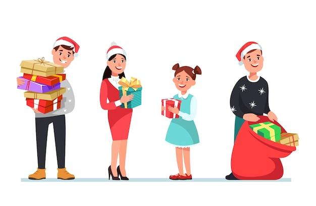 Illustrazione vettoriale natale persone abbigliamento invernale con scatola regalo in stile cartone animato