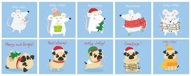 Illustrazione vettoriale di ratti e cani di natale con auguri di natale e capodanno. simpatici animali domestici con cappelli da festa