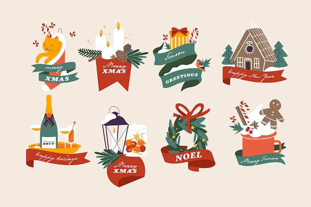 Illustrazione di vettore composizioni di tipografia di natale impostate. pacchetto di saluti invernali stagionali con attributi natalizi tradizionali. buone vacanze.