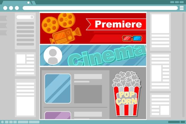 Un'illustrazione vettoriale del design dell'interfaccia del sito cinematografico