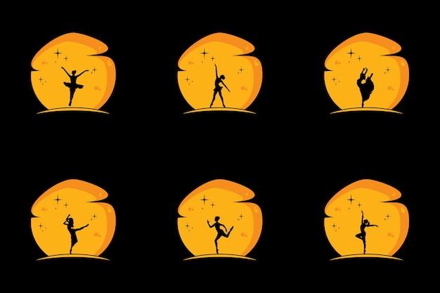Illustrazione vettoriale di balletto classico, ballerino di balletto di figura